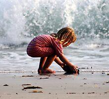 Beach Combing, Child on Ko Samed Beach, Thailand  by suellewellyn