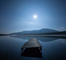 Moon and lake by Marie Carr