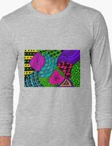 Rose in Green and Blue Long Sleeve T-Shirt