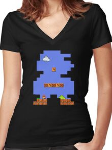 Super Mario Retro Women's Fitted V-Neck T-Shirt