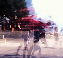Summer holiday or under a red umbrella by Angela Bruno