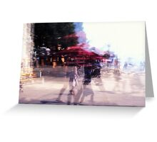 Summer holiday or under a red umbrella Greeting Card