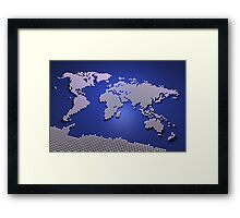 World Map in Blue Framed Print