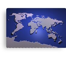 World Map in Blue Canvas Print