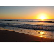 Sun Over Waves and Sitting on the Beach - Apollo Bay, Victoria Photographic Print