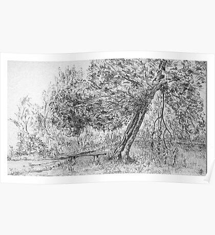 """""""A quiet corner"""", Sutton Park (pencil sketch 1958) Poster"""