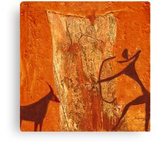 Prehistoric hunting  - rock painting Canvas Print