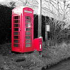 Old Red Telephone and Post Box  by hootonles