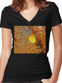 Premature Autumn Aspen Leaf Women's Fitted V-Neck T-Shirt