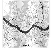 Seoul Map Gray Poster