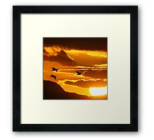 Sunset with Barnacle Geese Framed Print