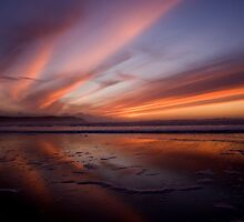 Sunset Trio 3 Woolacombe Bay by Lorraine Parramore