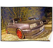 VW MK3 Golf On Borbet A Alloys Poster