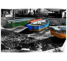 Row boats at Mudeford Poster