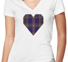 00461 Blue Matheson Hunting Tartan  Women's Fitted V-Neck T-Shirt