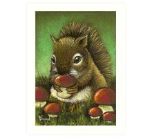 Baby squirrel and mushrooms Art Print