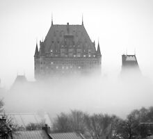 A Foggy Morning engulfs Chateau Frontenac Black and White by Yannik Hay