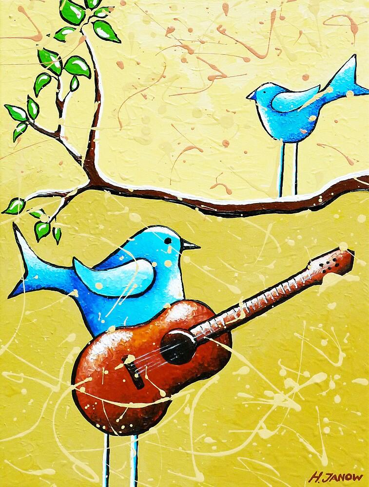 Blue Bird Painting Original Whimsical Folk Wall Art - Romeo and Juliet by hjmart