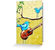 Blue Bird Painting Original Whimsical Folk Wall Art - Romeo and Juliet Greeting Card