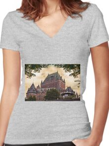 Chateau Frontenac at Sunset Women's Fitted V-Neck T-Shirt
