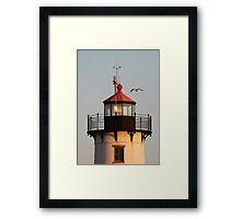 Lantern House, Eastern Point Light as Sunset Framed Print