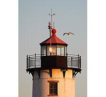 Lantern House, Eastern Point Light as Sunset Photographic Print