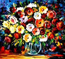 Flowers Of Love - original oil painting on canvas by Leonid Afremov by Leonid  Afremov