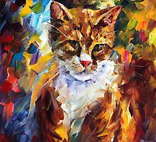 MY CAT MAX - original oil painting on canvas by Leonid Afremov by Leonid  Afremov