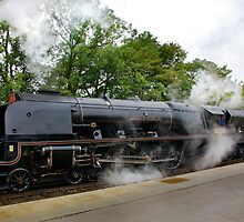 Duchess of Sutherland in black livery, Hellifield by McBay