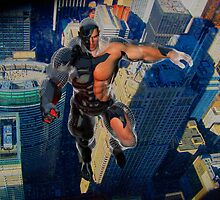 Flying Man over Chicago by Wyldspace