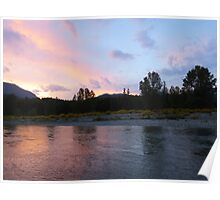 Summer Sunset Cowlitz River Poster