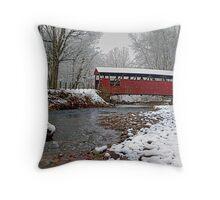 Snowy Muncy Creek Crossing Throw Pillow