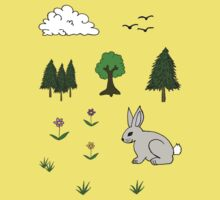 Nature Diorama Stickers  Kids Tee