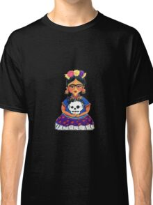 Cute Frida with Skull Color Pencil Illustration by Candace Byington Classic T-Shirt