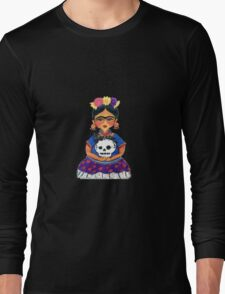 Cute Frida with Skull Color Pencil Illustration by Candace Byington Long Sleeve T-Shirt