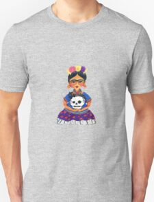 Cute Frida with Skull Color Pencil Illustration by Candace Byington Unisex T-Shirt