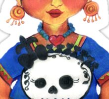 Cute Frida with Skull Color Pencil Illustration by Candace Byington Sticker