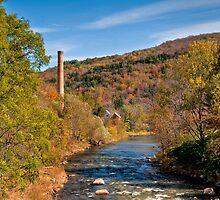 Smokestack on River by Joe Jennelle