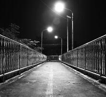 Down to Somewhere - Footbridge at night by vanyahaheights