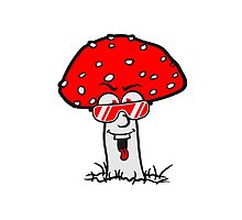 cool glasses Face red spots toadstool toxic comic laugh Photographic Print