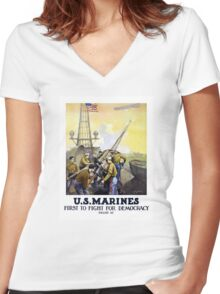 US Marines -- First To Fight For Democracy Women's Fitted V-Neck T-Shirt