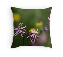 Ragged Robin in Summer Meadow Throw Pillow