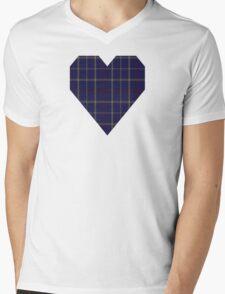 00470 Tattersall Blue Fashion Tartan  Mens V-Neck T-Shirt