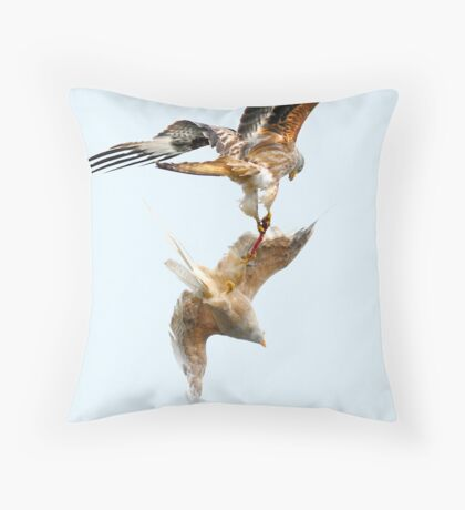 Tustling Red and Leucistic Kite Throw Pillow