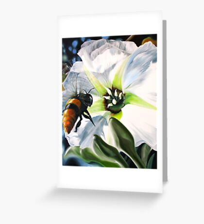 """Bee-ing There"" - large Mexican bee on a white blossom Greeting Card"