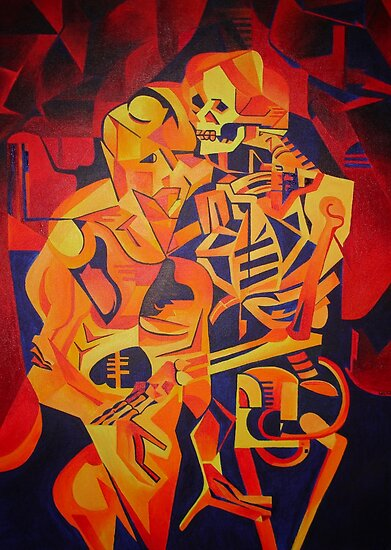 A Skeleton and A Corpse Embracing Death by taiche