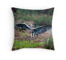 Heron in Rain Throw Pillow
