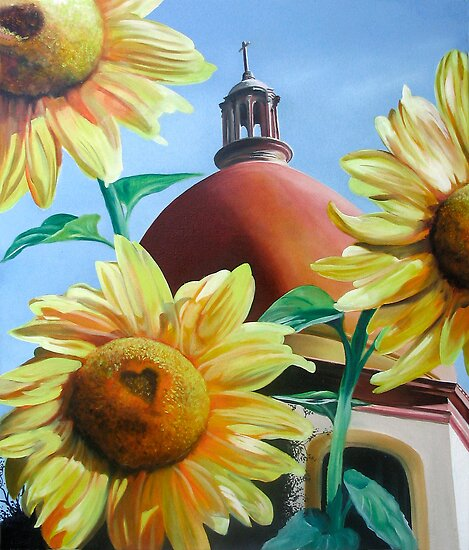 """Righteous Light"" - sunflowers with a church behind by James  Knowles"