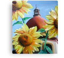 """""""Righteous Light"""" - sunflowers with a church behind Canvas Print"""