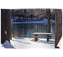 Snowy day at Old Davidsonville State Park Poster